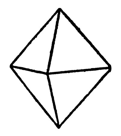 An octahedron or double pyramid diagram with four sides. It is a polyhedron with eight faces. It is the main form of the isometric system, vintage line drawing or engraving illustration.