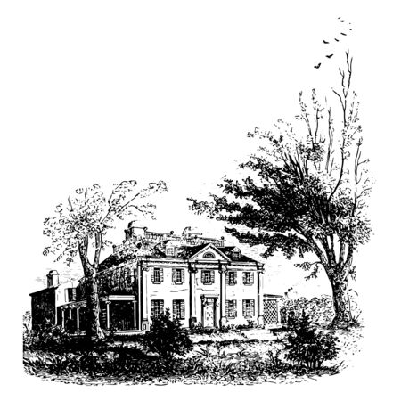 Washington's headquarters are historic site located in Cambridge, Massachusetts, established in 1972 vintage line drawing.