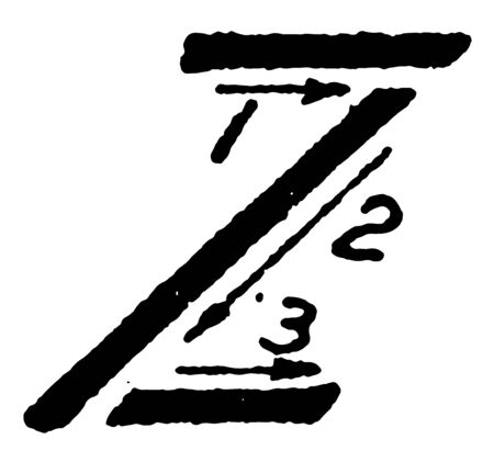 This image shows the stroke directions when writing the letter Z using inclined capital, vintage line drawing or engraving illustration.