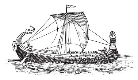 Norman ship from Bayeux Tapestry built in the traditional Viking style, vintage line drawing or engraving illustration.