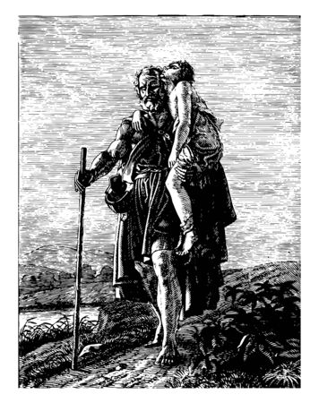 An old beggar-looking person holding a wounded child in his lap and walking with the help of a stick, vintage line drawing or engraving illustration. Stock Illustratie