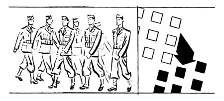 This illustration represents military Personnel in Formation Changing Direction, vintage line drawing or engraving illustration.