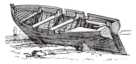 Row Boat which is a small row boat with row locks, vintage line drawing or engraving illustration.