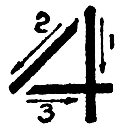 This is a picture of stroke technique for writing number 4 in commercial gothic, vintage line drawing or engraving illustration. Ilustração