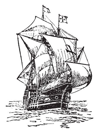Santa Maria was the largest of the three ships used by Christopher Columbus in his first voyage, vintage line drawing or engraving illustration. Archivio Fotografico - 133310192