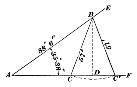 The image shows the oblique triangle used for the ambiguous case. It is the method of finding the external angle of the triangle with the help of geometry, vintage line drawing or engraving illustration.