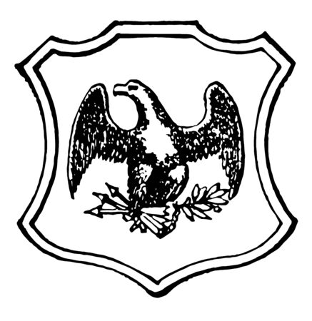 Mississippi great seal adopted in 1798 and become state seal in 1817 which is black and white in colour vintage line drawing.