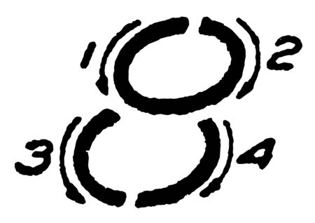 This is a picture of writing the inclined capital number 8 using proper strokes, vintage line drawing or engraving illustration.