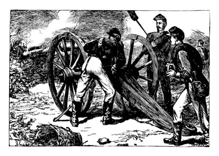 This illustration represents Cannon & Soldiers, vintage line drawing or engraving illustration. Reklamní fotografie - 133310239