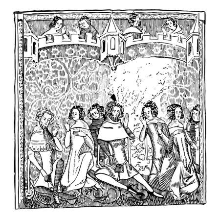 Image showing the image of a thick cloth that has designs and is used as a wall hanger and you can see the people in front and behind the tapestry, vintage line drawing or engraving illustration.