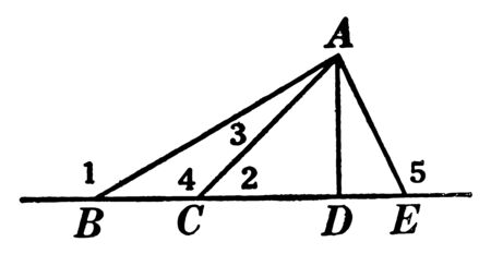 The image shows a triangle ABE. In this diagram three parts of triangle, angle of 9 are shown, vintage line drawing or engraving illustration.