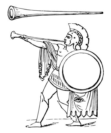 Tuba is a bronze trumpet distinguished from the cornu by being straight, vintage line drawing or engraving illustration. Çizim