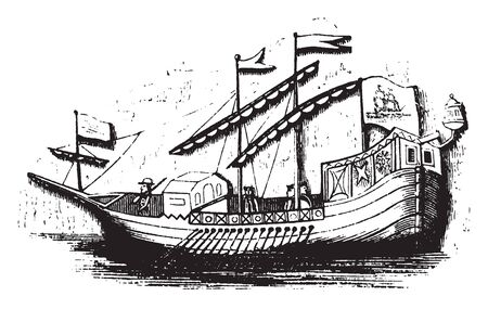 Spanish caravel is a small highly maneuverable sailing ship developed in the 15th century, vintage line drawing or engraving illustration.