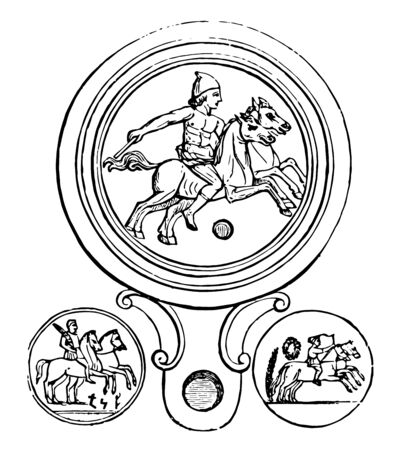A woodcraft that shows a man riding two horses at a time. Both horses are without a chair. Three different rider poses are shown in the forest, vintage line drawing or engraving illustration.