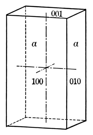 Prism with four vertical rectangular faces, each of which intersect a horizontal crystallographic axis and is parallel to the other two axes, vintage line drawing or engraving illustration. Ilustração