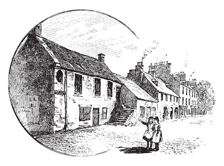 Perth where two women standing in the city of Perth pointing at a dwelling, vintage line drawing or engraving illustration. Illustration
