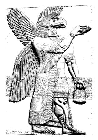 The sample of winged geniuses carved on the walls. This Deity sculpture with the head of a winged eagle, vintage line drawing or engraving illustration. Illustration