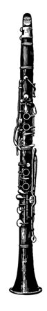 Clarinet is set in vibration by a single flexible reed, vintage line drawing or engraving illustration.