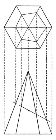The image shows the intersection of a hexagonal pyramid and a plane, vintage line drawing or engraving illustration.