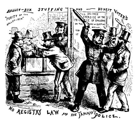 Political cartoon of No Registry Law and Tammany, violently opposed all legislations for registration of voters in new york vintage line drawing.  イラスト・ベクター素材