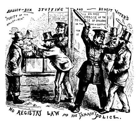 Political cartoon of No Registry Law and Tammany, violently opposed all legislations for registration of voters in new york vintage line drawing. Ilustração