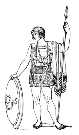 A Greek soldier holding a shield and a spear, vintage line drawing or engraving illustration.