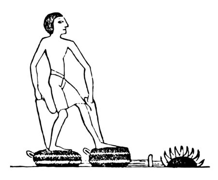 Bellows was used by Egyptian to blow air into fire, vintage line drawing or engraving illustration.