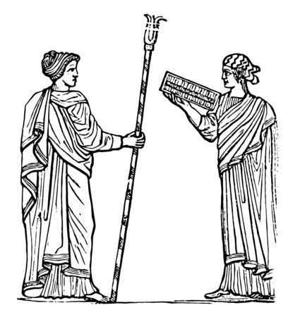 Two Greeks wearing a headdress called Mitra, vintage line drawing or engraving illustration.