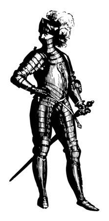 This illustration represents Norman armor, vintage line drawing or engraving illustration. Reklamní fotografie - 133360827