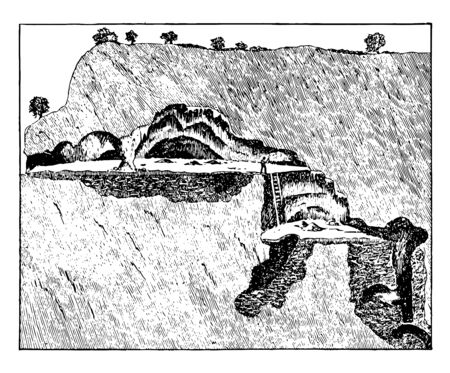 A cave below the mountain and a path to approach the cave, vintage line drawing or engraving illustration. 向量圖像