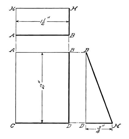 The image shows the projection of a wedge of a rectangular prism that can be seen from one side, vintage line drawing or engraving illustration.