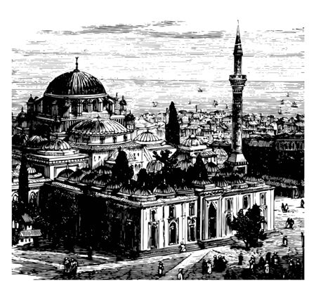 This image shows the view of the city of Constantinople. It shows the largest palace and pillar. There are some villages throughout the palace, vintage line drawing or engraving illustration. 向量圖像