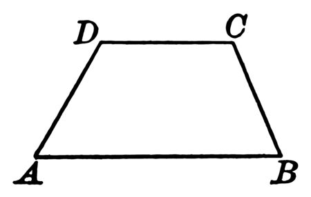 An image showing ABCD Trapeze. Trapezoid has two and only two parallel sides, vintage line drawing or engraving illustration.