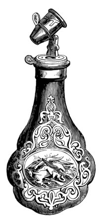 Powder Flask is embossed in an Italian style with a center scene of dead game, vintage line drawing or engraving illustration. Illustration
