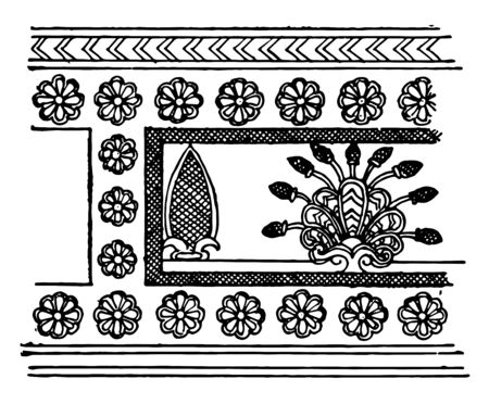 The image shows the Assyrian ornament. The flowers are present around the border. It is derived from Egyptian originals and the set has double edge, vintage line drawing or engraving illustration.