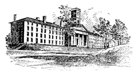 Amherst College Chapel and Dormitories was founded to educate men for the ministry,siyuated in massachusetts vintage line drawing.