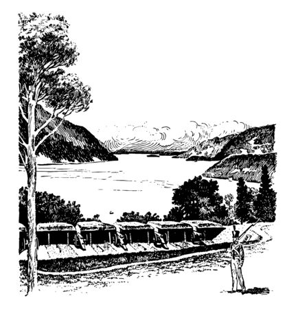 West point in NewYork located on the Hudson river is a military post having 16000 acres campus of the United states military academy vintage line drawing. 일러스트
