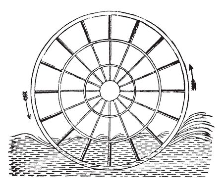 Ordinary Paddle wheel that is called the radial in which the floats are fixed, vintage line drawing or engraving illustration.