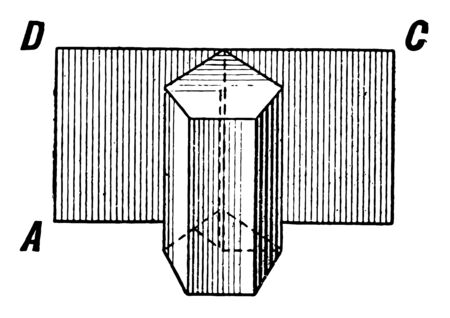 The image shows a pentagonal prism that shows: If a piece of paper is placed to cover the convex surface of a prism or cylinder, and then unrolled, its shape will be that of a rectangle, like ABCD, vintage line drawing or engraving illustration.
