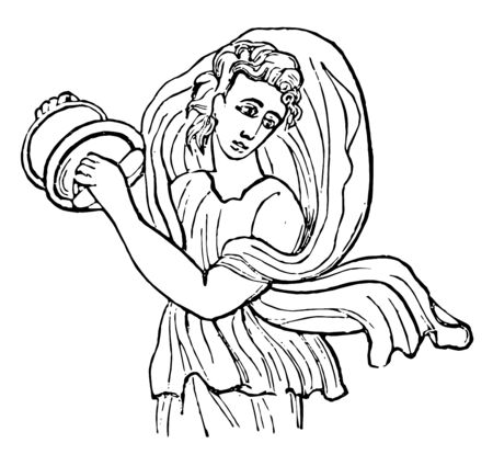 Cymbalum was a very ancient instrument being used in the worship of Cybel, vintage line drawing or engraving illustration.