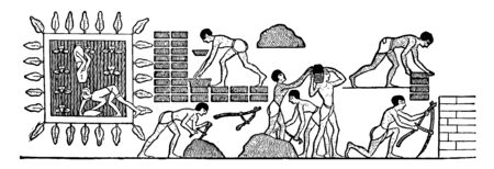 Egyptian men helping out each other in making bricks , vintage line drawing or engraving illustration. 向量圖像