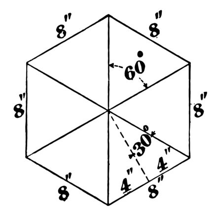 The hexagon with six equal parts and each part has 60 degrees, vintage line drawing or engraving illustration.