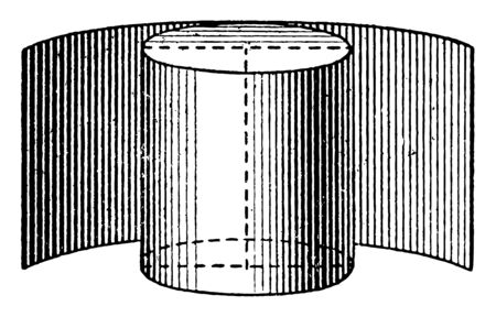 The convex surface area of the cylinder, the rectangle that forms a cylinder is called the curved surface of a cylinder, vintage line drawing or engraving illustration.