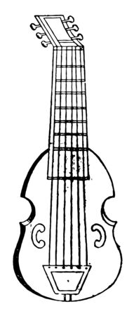 Bass Viol is a family or musical instruments and is related to and descending from the vihuela and rebec, vintage line drawing or engraving illustration. Ilustrace