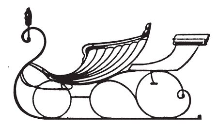 Pony sleigh with rumble is late styles of fashionable carriages and sleighs, vintage line drawing or engraving illustration.