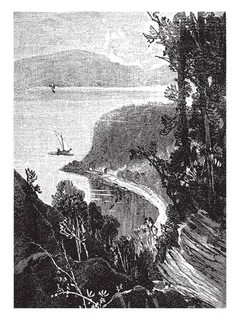 Wolfes Cove in Quebec,vintage line drawing or engraving illustration. 일러스트