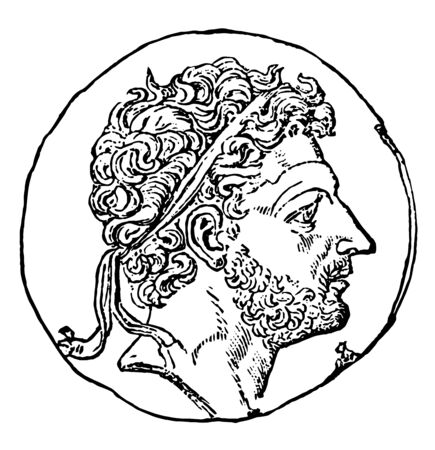This image shows the coin with the face of Perseus of Macedonia. The head is shown with curly hairs with tape on the head, vintage line drawing or engraving illustration. Illustration