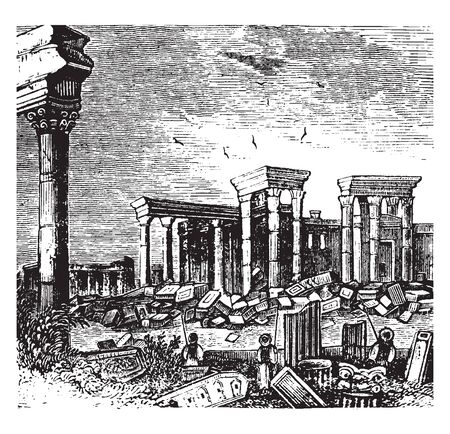 Palmyra is an ancient Semitic city in present day Homs Governorate in Syria, vintage line drawing or engraving illustration.