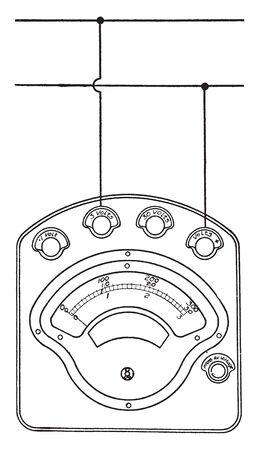 Volt Ammeter is a portable combination volt ammeter for testing, vintage line drawing or engraving illustration. Stok Fotoğraf - 132962357