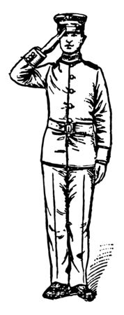 Salute raise the right hand smartly till the tip of the forefinger touches the lower part of the headdress above the right eye, vintage line drawing or engraving illustration.